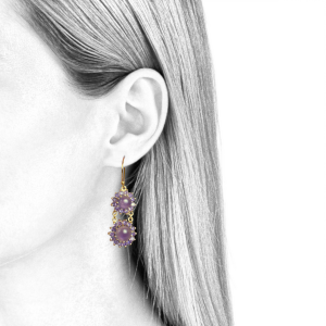 dangling earrings for women amethyst and yellow gold
