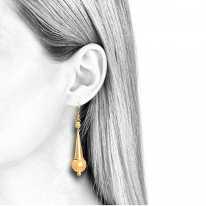 women's pendant earrings,18k gold on silver